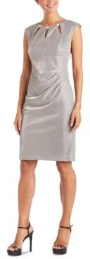 R & M Richards Embellished-Neck Metallic Sheath Dress