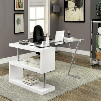 Orren Ellis Lindel L-Shape Desk Color: White