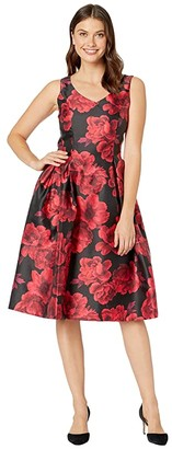 Tahari ASL V-Neck Printed Jacquard Party Dress (Red/Black Floral) Women's Dress