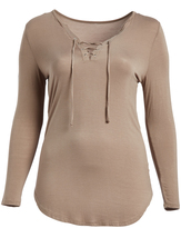 Paparazzi Mocha Long-Sleeve V-Neck Top - Plus