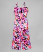 KensieGirl Fuchsia & Black Palm Tree Jumpsuit - Girls