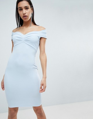 City Goddess Bardot Wrap Over Pencil Midi Dress