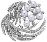 Nina 'Waxing Moon' Crystal & Faux Pearl Brooch