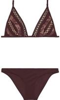 Zimmermann Ribbed triangle bikini top Burgundy women