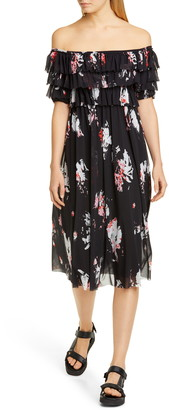 Fuzzi Ruffle Floral Print Off the Shoulder Tulle Dress