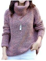 ARJOSA Women's Autumn Winter Thick Soft Turtleneck Long Sleeve Pullover Sweater Jumper (M, Dark Blue)