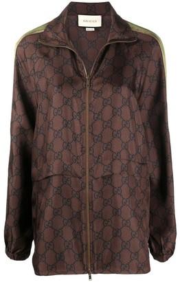 Gucci Gg Supreme Brown Silk Track Jacket