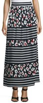 RED Valentino Floral-Print Striped Silk Maxi Skirt