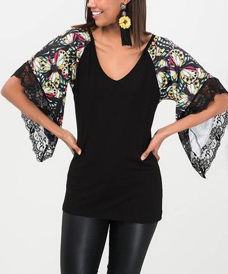Milan Kiss Women's Blouses BLACK-BUTTERFLY - Black Butterfly Lace-Trim Bell-Sleeve V-Neck Top - Women