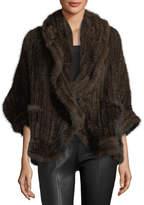 Adrienne Landau Knit Mink Fur Wrap w/ Pockets, Beige