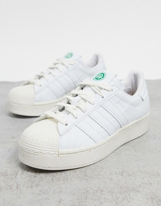 adidas Clean Classics Sustainable Superstar Bold platform trainers in white