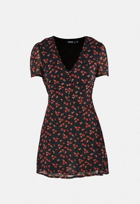 Missguided Black Floral Print Half Button Mini Tea Dress