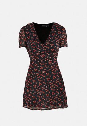 Missguided Floral Print Half Button Mini Tea Dress
