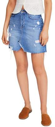 Free People Hallie Distressed Denim Mini Skirt in Washed Denim