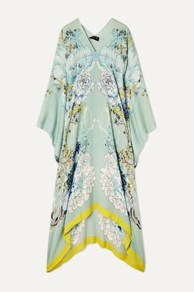 Meng MENG - Floral-print Silk-satin Kaftan - Teal