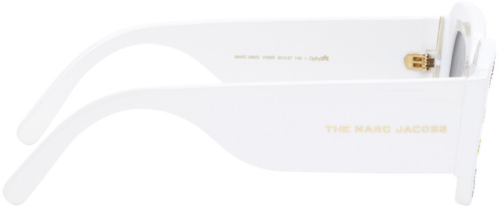 Thumbnail for your product : Marc Jacobs White 'The Logo' Rectangular Sunglasses