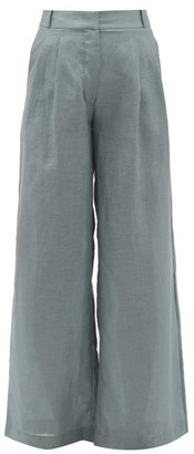 ASCENO Rivello High-rise Pleated Linen Trousers - Womens - Grey