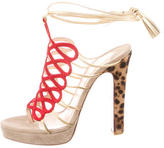 Christian Louboutin Suede Lace-Up Sandals