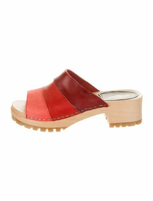 Swedish Hasbeens Leather Colorblock Pattern Slides Red
