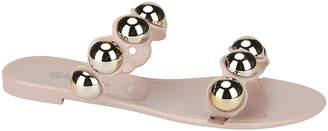 BEIGE Weeboo Women's Sandals NUDE Bearing Double-Strap Jelly Slide - Women
