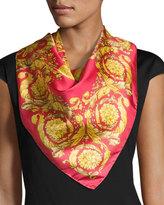 Versace Circular Swirl Foulard Scarf, Pink