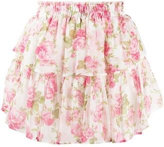 LoveShackFancy Rose-Print Ruffled Mini Skirt