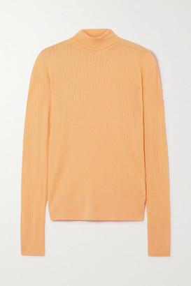 KING & TUCKFIELD Pointelle-knit Merino Wool Turtleneck Sweater - Peach