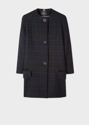 Paul Smith Women's Black and Blue Windowpane Check Collarless Coat