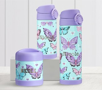 Pottery Barn Kids Mackenzie Aqua Lavender Pretty Butterflies Hot & Cold Container
