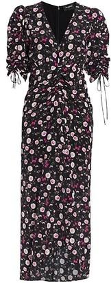The Kooples Short-Sleeve Printed V-Neck Long Dress