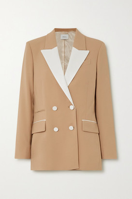 Racil Two-tone Double-breasted Twill-trimmed Wool-blend Blazer - Tan