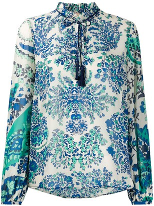 Twin-Set Floral Print Tassel-Embellished Blouse