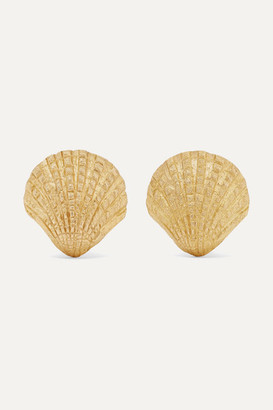 Pippa Small Net Sustain Scallop 18-karat Gold Earrings