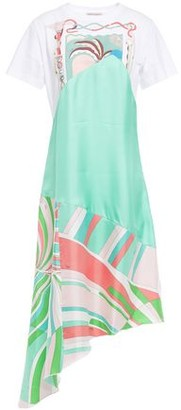 Emilio Pucci Asymmetric Printed Cotton-jersey And Silk-twill Dress
