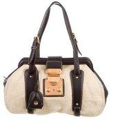 Miu Miu Leather-Trimmed Canapa Bag