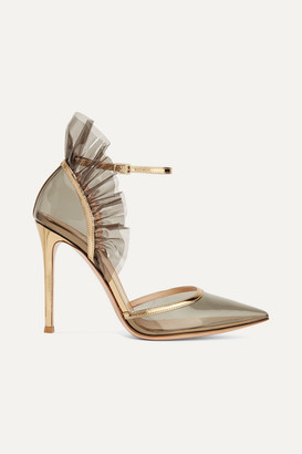 Gianvito Rossi 105 Metallic Leather-trimmed Ruffled Pvc Pumps - Gray