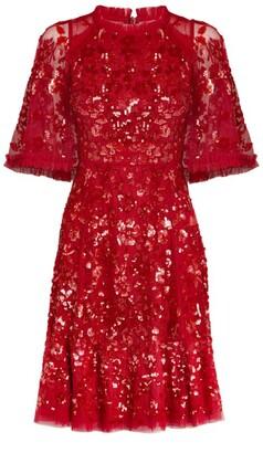 Needle & Thread Sequin-Embellished Shirley Ribbon Caped Mini Dress