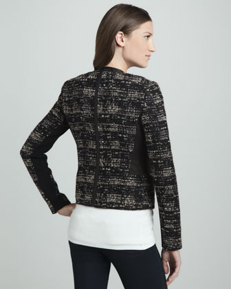 Rebecca Taylor Leather-Panel Tweed Jacket