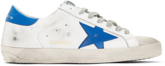 Golden Goose White and Blue Superstar Sneakers