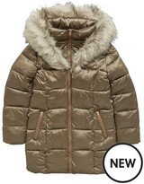 Very Girls Metallic Fur Hooded Padded Coat
