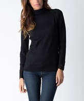 Yuka Paris Black Lace-Accent Turtleneck Sweater