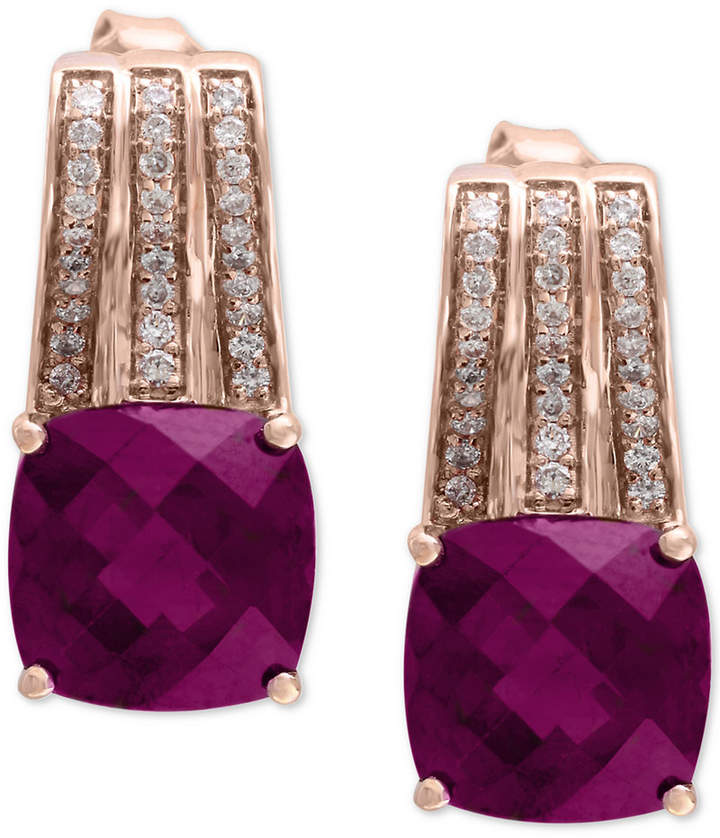 Effy Rhodolite (2-9/10 ct. t.w.) & Diamond (1/5 ct. t.w.) Drop Earrings in 14k Rose Gold