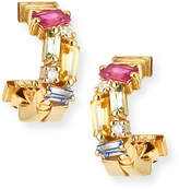 Suzanne Kalan 18k Mini Huggie Sapphire & Diamond Fireworks Hoop Earrings