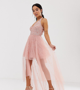 Dolly & Delicious Petite cowl front embellished mini prom dress with train in pink