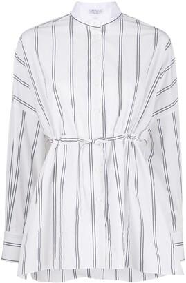 Brunello Cucinelli Striped Tie Waist Shirt