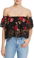 Olivaceous Embroidered Lace Off-the-Shoulder Top