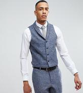 Asos TALL Slim Suit Vest In Blue Flecked Wool Blend