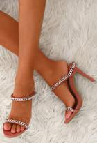 Pink Boutique Intensity Pink Suede Chain Slip On Heels