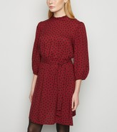 New Look Burgundy Spot Long Sleeve Frill Trim Dress