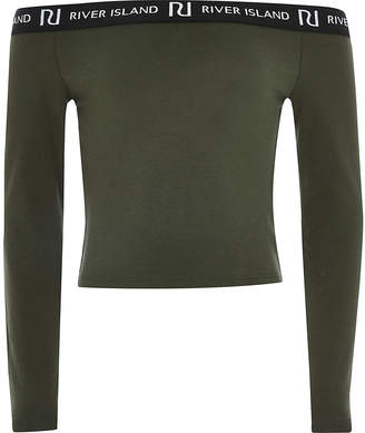 River Island Girls khaki long sleeve bardot top